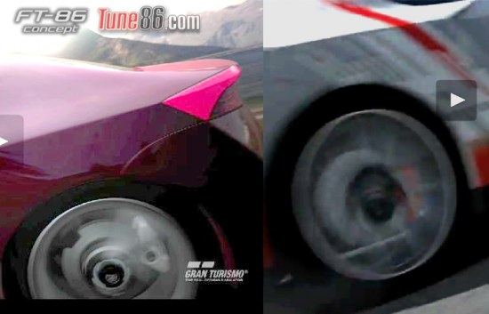 Toytoa FT86 concept base model compared to G Sports FT-86 edition in Gran Turismo 5. The base model has 2 brake calipers, photo, pic
