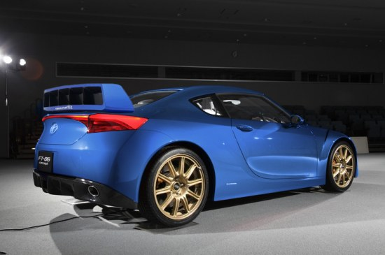 subaru wrc spoiler on toyota ft86 concept, blue with golden rims