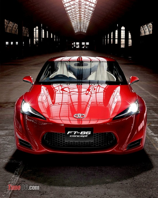 Toyota FT-86 concept. Angar warehouse photoshoot. front photo. portrait pic, headlights and bumper