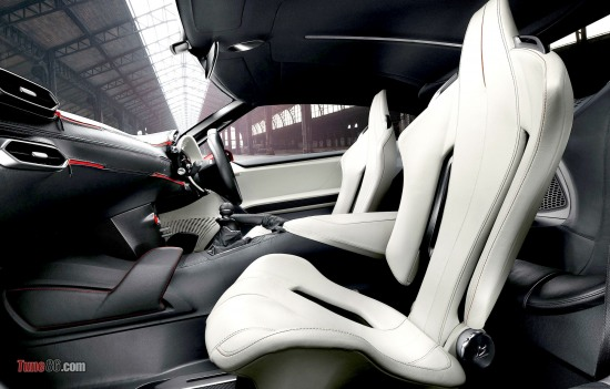 Toyota FT-86 concept interior photo. angar photoshoot. white leather seats pic