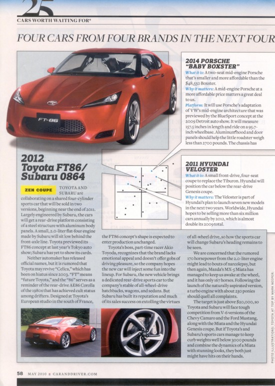 Car & Driver magazine inside scan about FT-86