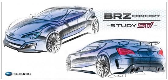 Subaru BRZ sketch - 2013 Subaru BRZ prototype render pic sketch