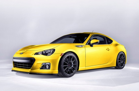 Photshopped version of Subaru BRZ - lowered, black rims, yellow color