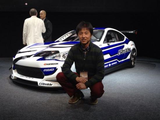 Scion racing, formula drift, ken gushi drift car - scion frs, with Tetsuya Tada at Detroit motor show 2012