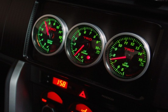 Photo: TRD triple meters set, gauges for Toyota 86 TRD performance line. Water temp gauge, oil temperature gauge, oil pressure.