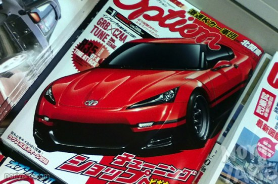 Photo of Option Magazine Cover, Toyota FT-86 concept, red black panda