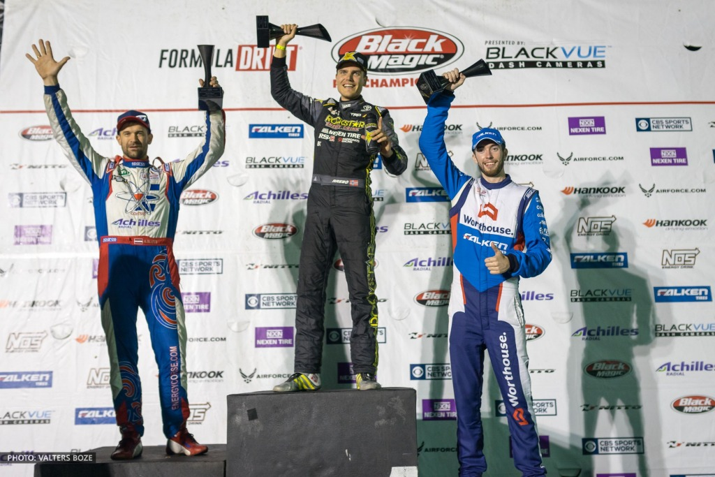 Formula Drift montreal canada 2017 podium - 1st Fredric Aasbo, 2nd Kristaps Bluss, 3rd James Deane